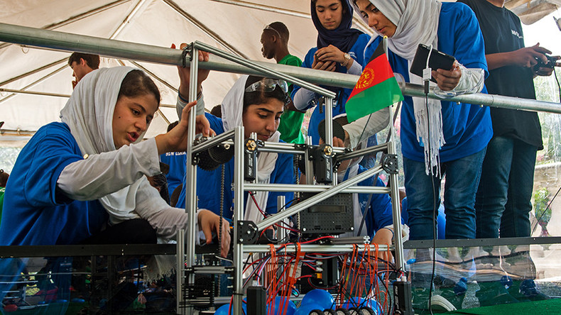 Afghan girls win courage medal at robot competition