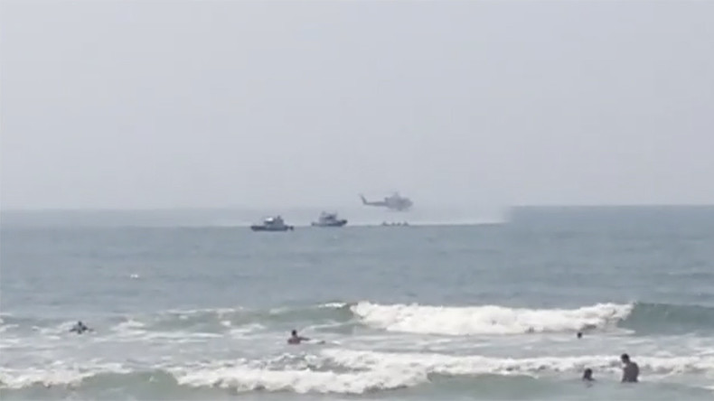 Chopper's emergency water landing near NY beach caught on camera (VIDEOS)