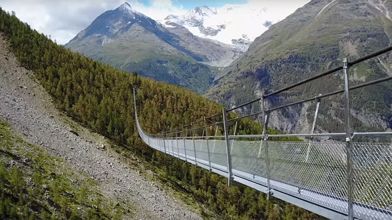 Don't look down: World's longest hanging bridge opens in Swiss Alps (VIDEOS)