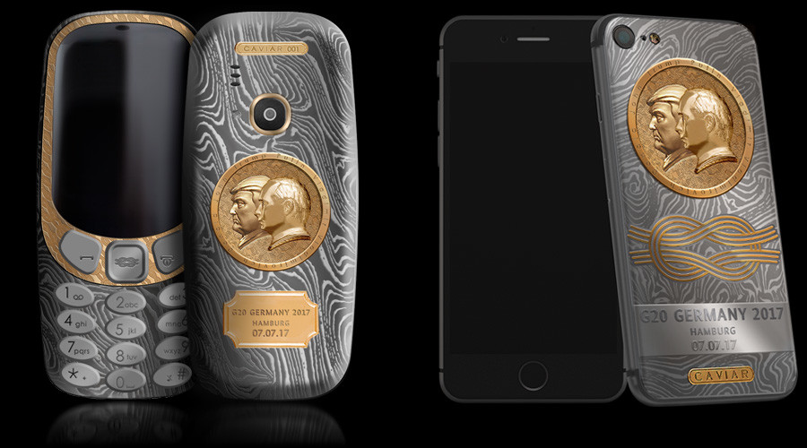 Titanium phone with golden Putin-Trump carving issued ahead of historic meeting