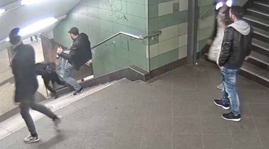 Berlin metro attacker jailed for booting woman down stairs in horror assault (VIDEO)