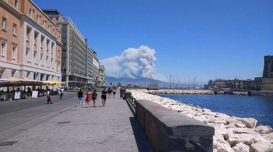 Mount Vesuvius on fire: People evacuated as smoke engulfs volcano, seen from Pompeii