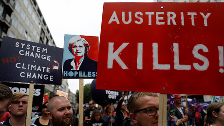 Demonstrators set off for Parliament Square on an anti-austerity rally and march organised by campaigners Peoples' Assembly, in central London, Britain July 1, 2017. © Peter Nicholls