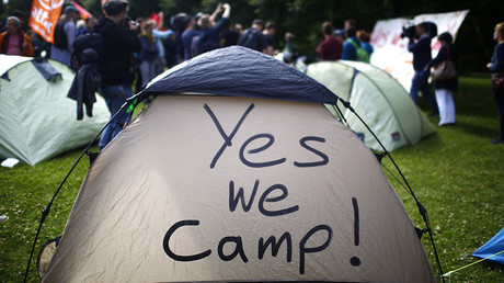 Activists from ATTAC organisation set up a camp as they protest ahead of the upcoming G20 summit in Hamburg, Germany, July 4, 2017. © Hannibal Hanschke