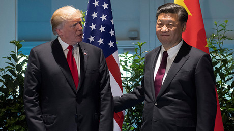 US President Donald Trump and Chinese President Xi Jinping (R) meet on the sidelines of the G20 Summit in Hamburg, Germany, July 8, 2017 © Saul Loeb