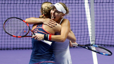 FILE PHOTO: Ekaterina Makarova and Elena Vesnina at Singapore WTA Finals Doubles Finals © Edgar Su