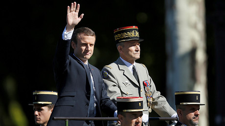 French President Emmanuel Macron and Chief of the Defense Staff, Pierre de Villiers, during Bastille Day military parade on the Champs-Elysees in Paris, France, July 14, 2017