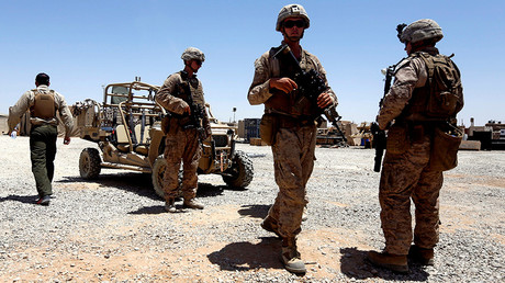 U.S. Marines walk inside their base in Afghanistan July 6, 2017 © Omar Sobhani