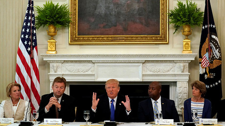 US President Donald Trump speaks during a lunch meeting with Senate Republicans in Washington, US, July 19, 2017 © Kevin Lamarque