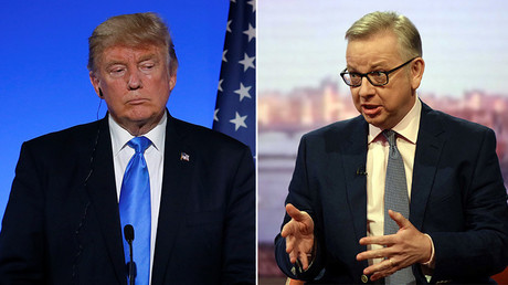 US President Donald Trump (L), Britain's Secretary of State for Environment, Food and Rural Affairs, Michael Gove (R) © Reuters