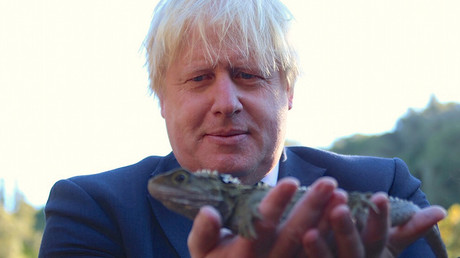 British Foreign Secretary Boris Johnson holds a lizard during a visit to Zealandia in Wellington, New Zealand, July 25, 2017 © Reuters