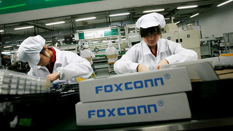 A Foxconn factory in the township of Longhua in China's southern Guangdong province. © Bobby Yip