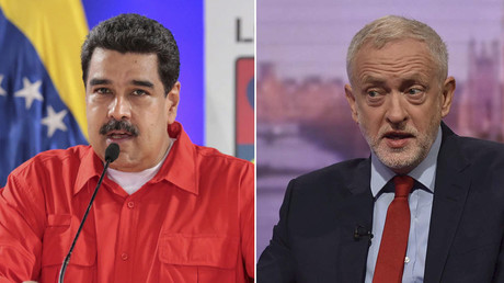 Venezuela's President Nicolas Maduro (L),  Leader of Britain's opposition Labour Party, Jeremy Corby (R). © Reuters
