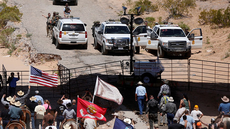 FILE PHOTO: Protesters gather at the Bureau of Land Management's base camp near Bunkerville, Nevada April 12, 2014 © Jim Urquhart