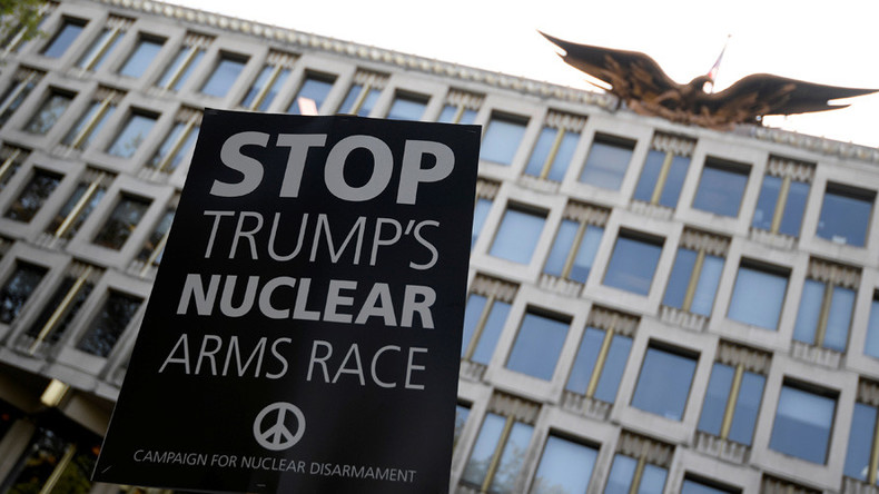 'De-escalate' North Korea conflict, protesters tell Trump at London US Embassy