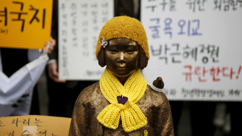 Historic hurt: Korean 'comfort women' bus past Japanese embassy