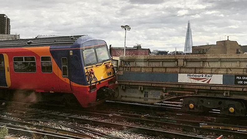 Train derails after colliding with wagon at London Waterloo station (PHOTOS)