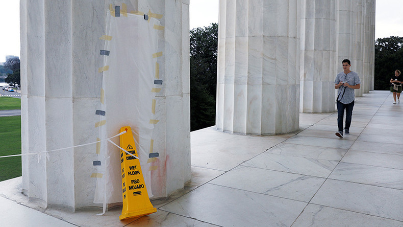 Lincoln Memorial defaced as officials across US reassess Confederate-era monuments