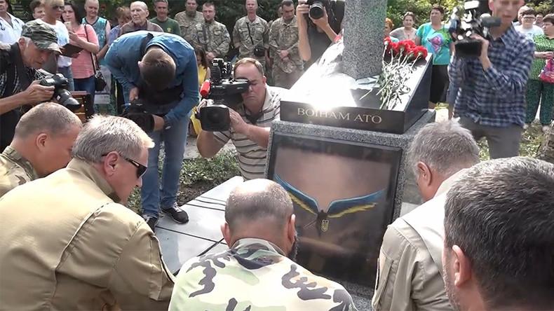 Sword piercing Russia and Diablo III angel? Ukraine war memorial image mirrors video game character