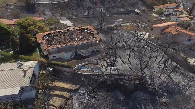 Stunning drone footage captures devastation of wildfire in Greece (VIDEO)