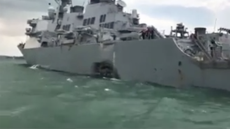 First images of damaged & flooded USS John S. McCain after collision with oil tanker (VIDEO)
