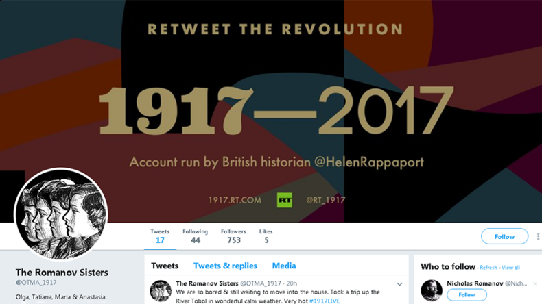 British author Helen Rappaport joins #1917LIVE on Twitter, giving voice to Romanov sisters