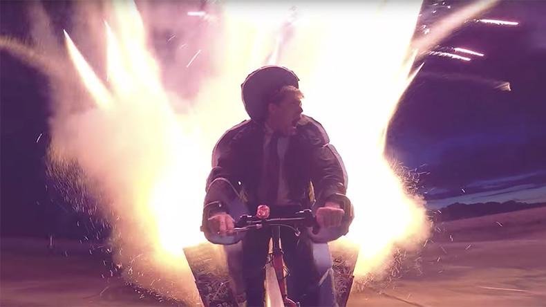 YouTube star returns with explosive 1,000-rocket bike challenge (VIDEO)