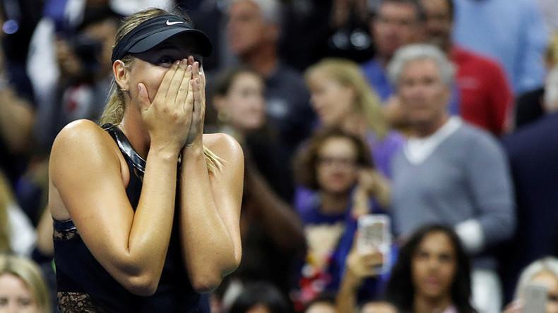 Sharapova stuns world no. 2 Halep in emotional Grand Slam return at US Open