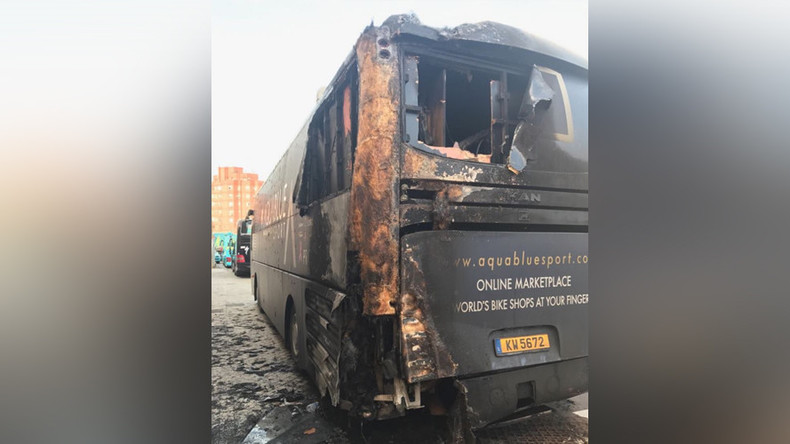 Irish cycling team bus destroyed in 'cowardly' arson attack