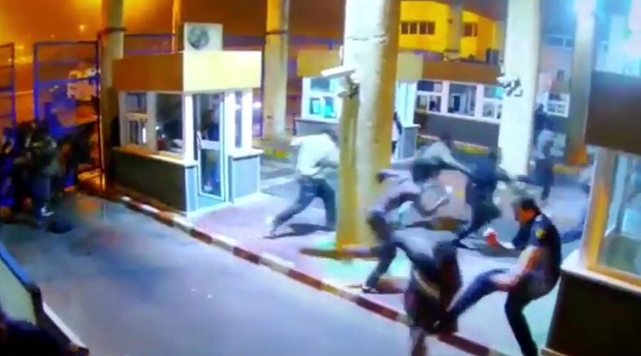 Spanish border guard suffers horrific leg break tackling migrant (VIDEO)