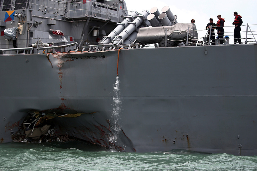 The Us Navy Guided Missile Destroyer Uss John S Mccain Is Seen After A Collision In Singapore Waters C Reuters