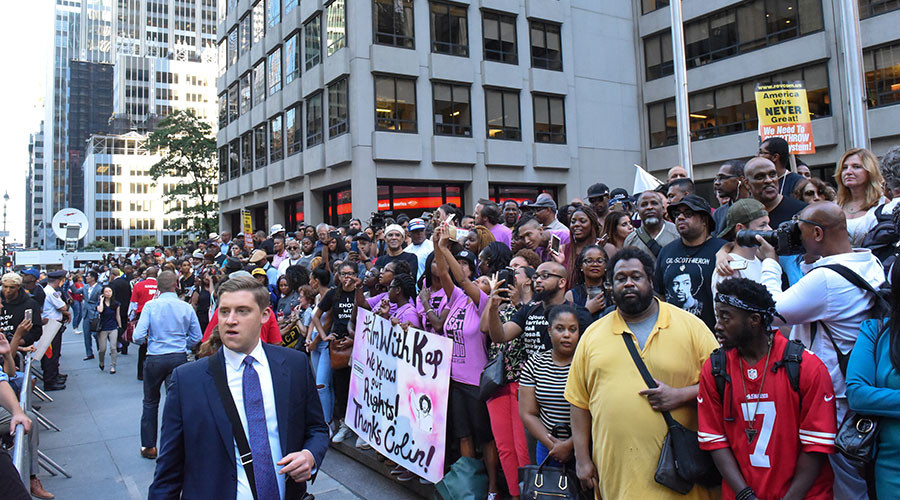 Black Lives Matter protesters target NFL headquarters in solidarity with Kaepernick