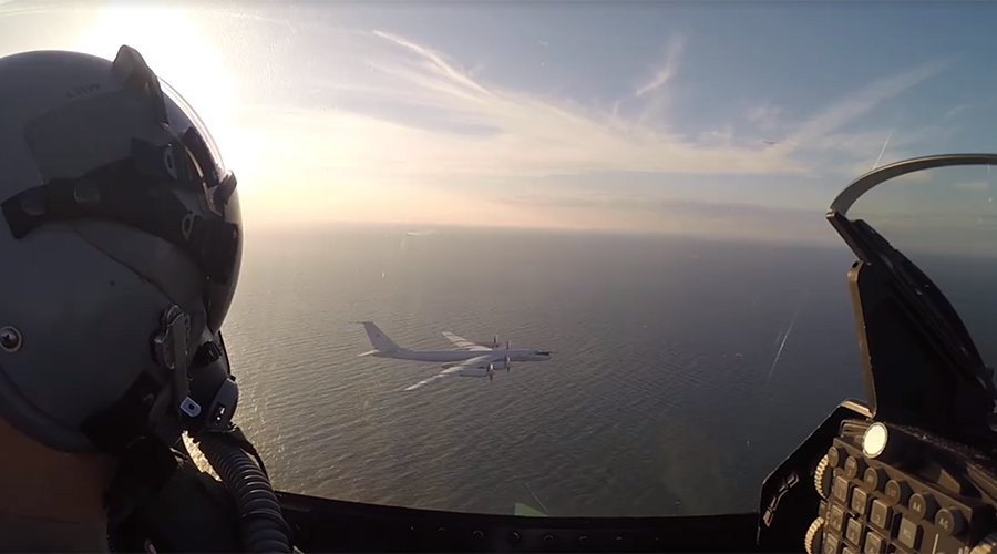 Danish jets shadow Russian reconnaissance plane, misidentifying it as bomber (VIDEO)