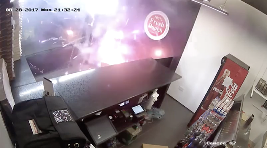 Box of 70 fireworks set off in pizza takeaway (VIDEO)