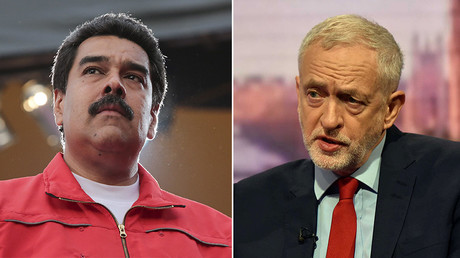 Venezuela's President Nicolas Maduro (L), Jeremy Corbyn, leader of Britain's opposition Labour Party (R) © Reuters