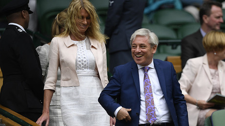 Speaker of the House Commons John Bercow and his wife Sally Bercow in the royal box before the start of play © Tony O'Brien