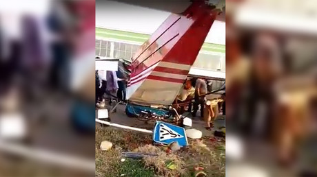 Rogue pilot in Chechnya attempts takeoff from rural road, smashes into van (VIDEO)
