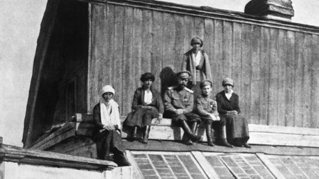 The Romanov family sit on a roof in Tobolsk. © Corbis / Getty Images