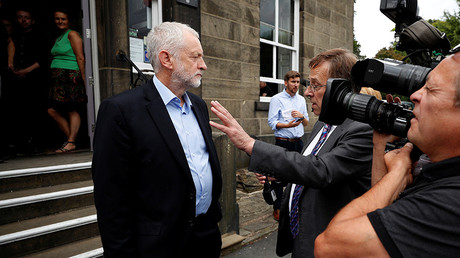 Britain's opposition Labour party leader, Jeremy Corbyn, is interviewed during a visit to a museum in Rawtenstall, Britain August 17, 2017 © Phil Noble