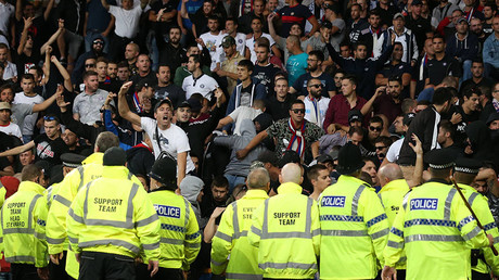 Police try to contain the Hadjuk Split fans during the Europa League Qualifying Play Offs 1st Leg match at Goodison Park Stadium, Liverpool. Picture date: August 17th 2017. © Global Look Press