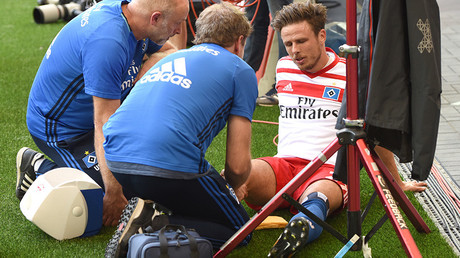 Hamburg player out for 7 months after rupturing knee ligament in goal celebration gone wrong (VIDEO)