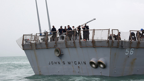 The US Navy guided-missile destroyer USS John S. McCain after a collision in Singapore waters © Ahmad Masood