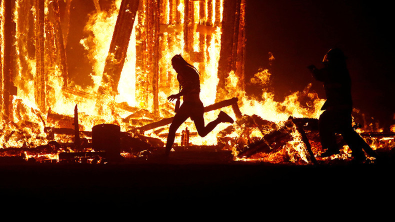 Man dies after diving into flaming effigy at Burning Man festival