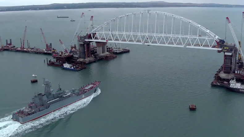 Russian navy ship passes under arch of epic Crimea Bridge for 1st time (VIDEO)