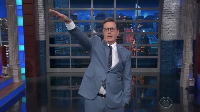 Late-night host Colbert gives Trump Nazi salute