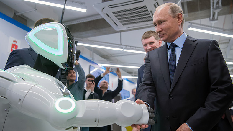 'Hello, Vladimir Putin, I am a robot!' President shakes hands with Russian-made android