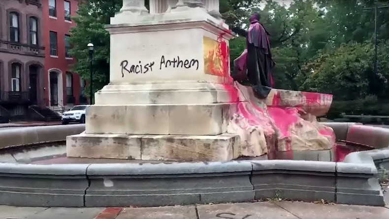 Baltimore to keep statue of Star-Spangled Banner composer defaced with 'Racist Anthem'