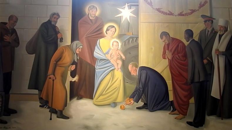 Putin, Obama & angels with saxophones: Catholic church fresco depicts world leaders as Magi
