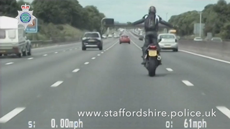 Biker jailed for wheelies and taking selfies at 117mph on major motorway (VIDEO)