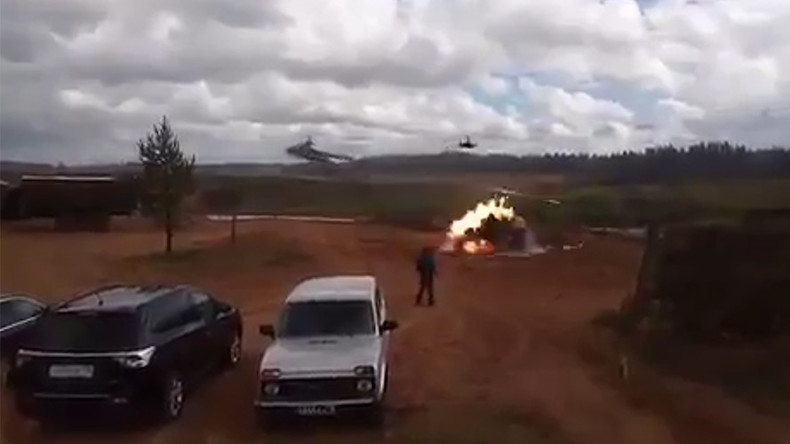 Russian Ka-52 gunship accidentally hits target on ground (VIDEO)